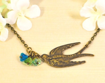 Golden Bird Pendant Necklace Flight of Spring - Bird Jewelry