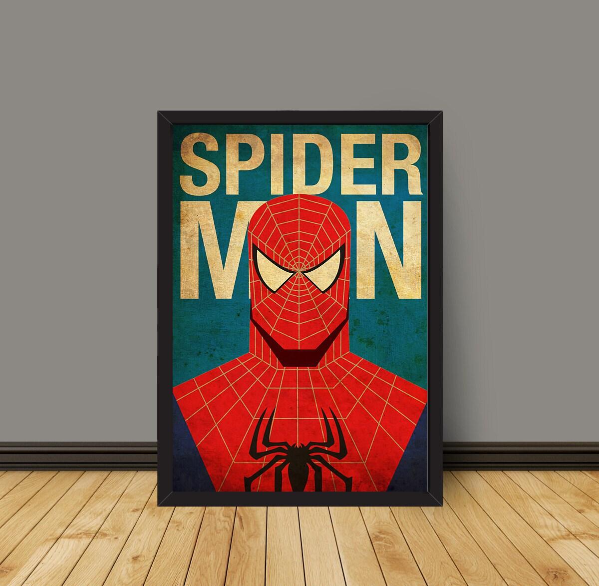 Vintage Minimalist Spiderman Poster Prints