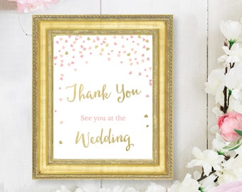 Bridal Shower Favor Sign - Favour Sign - Pink and Gold Thank You Sign - See you at the Wedding Sign - Printable - Pink and Gold Hearts