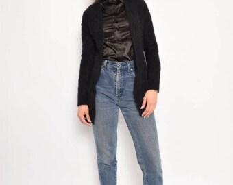 Vintage 90's Black Angora Sweater / Black Wool Blazer - Size Medium