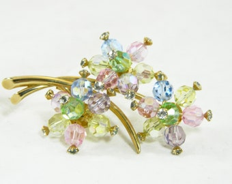 Vintage Marvella Colorful Crystal and Rhinestone Brooch Berries on a Branch 1950s