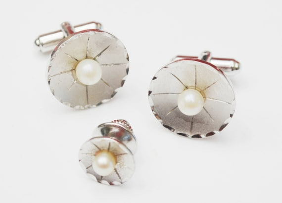 Sterling Silver Pearl  Cuff links and tie tact   round white salt water pearl - wedding groom - cufflinks