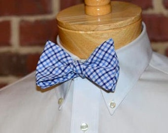 Navy & Blue Tattersall Bow Tie~Mens Self Tie Bow Tie~Mens Pre-Tied~Anniversary Gift~HoBo Ties~Cotton Bow Tie~Wedding