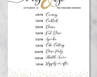 Kylie | Wedding Schedule Poster | Wedding Order of Events Timeline Poster| Printable Wedding Poster | Printed Poster