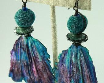 Striking Statement Leaf Earrings in Purple, Blue & Teal, Rustic Earrings, Rustic Boho Earrings, Bohemian Earrings, ChrisKaitlynJewelry, #925