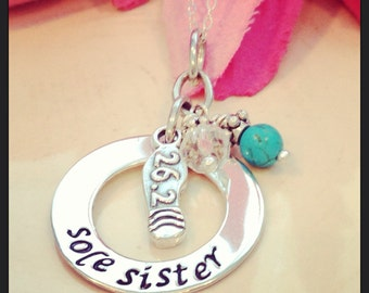 Hand Stamped Sole Sister Runners necklace-running necklace-half marathon full marathon necklace-friendship running necklaces