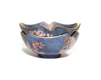 Vintage Purple Cloisonne Bowls Cloisonne Dish Ennameled Bowl Purple and Gold Dish Set of 2