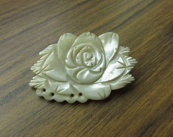 Vintage Mother of Pearl Carved Shell Floral Flower Rose Brooch Pin