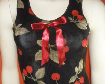Adorable Cherry Print Tank Top with Cute Bow on the Front