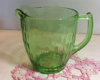 Jeannette Glass Hex Optic Honeycomb Pitcher 36 oz.  with Sunflower Pattern On the Bottom 1928- 1932  5""