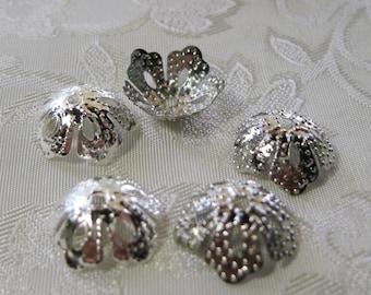Silver Five Petal Flower Filigree Bead Cap Mix and Match 14mm 312