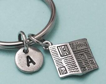 Newspaper keychain, newspaper charm, news keychain, news charm, personalized keychain, initial keychain, customized, monogram