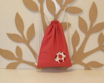 Backpack child print ladybugs and polka dots