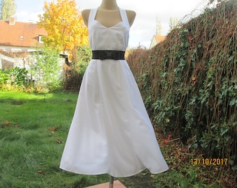 Open Back Dress / White Dress / A Line Dress / Dress Size EUR42 / UK14