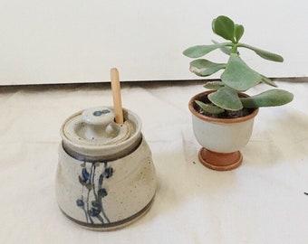 Hand painted Vintage Ceramic Honey Pot