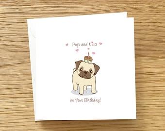 Dog Birthday Card - Pugs and Kisses on your birthday, Pug with cupcake on head, Pug Birthday Card, Cute card for Pug Lover, pug card