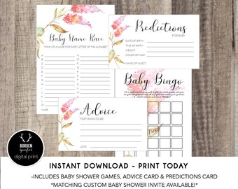 PRINTABLE - Baby Shower Game Suite - Instant Download - Advice Card - Prediction Card - Baby Bingo - Baby Name Game