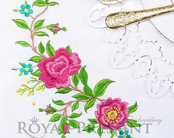 Corner Machine Embroidery Design Climbing Roses - 2 sizes