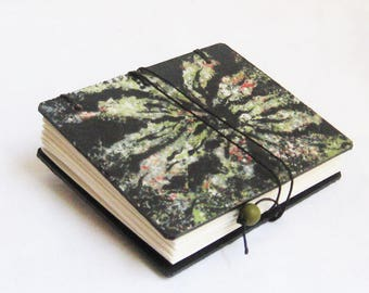 Miniature Book, Blank book, Green and Black, Flower book, organic design, gardener journal, one of a kind artist book