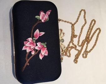 Hand embroidered ladies silk purse handbag evening bag