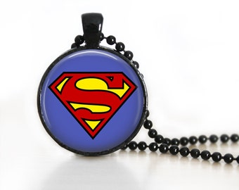 Superman Logo Symbol DC Glass Pendant, Photo Glass Necklace, Glass Keychain