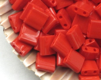 Bright Red Tila Beads Opaque Red # 408 5mm Miyuki Two Parallel Hole Beads Red Square Flat Glass Tiles Twin Hole Christmas Cherry Red
