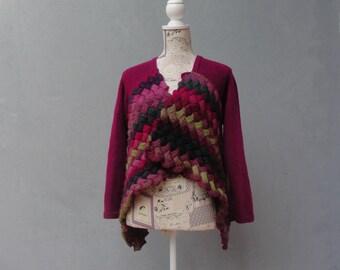 Plum Knitted Bolero Cardigan Knitwear Clothing US size 6 / 8 EU size 36 / 38