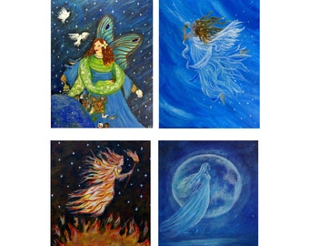 Four Prints 5 x 7 Elemental Earth Angels for the price of 2-Earth Wind Fire and Water-Angels-Home Decor