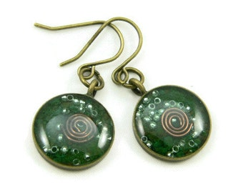 Orgone Energy Earrings - Malachite and Bronze - Small Dangle Earrings - Positive Energy Generator - Artisan Jewelry