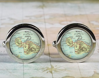 Maui cuff links, Maui map cufflinks wedding gift anniversary gift for groom gift for men groomsmen best man Father's Day gift