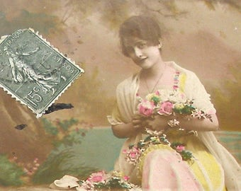 1910s French postcard, Lady in pink & yellow. RPPC real photo postcard, paper ephemera