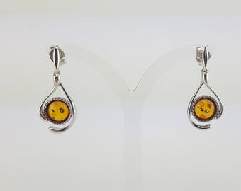 sterling silver earrings with natural Baltic amber