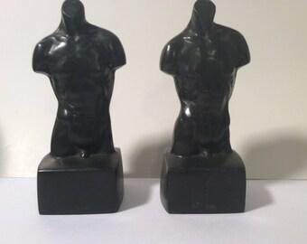 Pair of Vintage Nude Men Figural Bookends - Metal