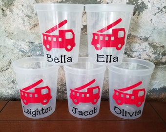 5 Personalized Fire Truck Cups-Clear Cups with Lid and Straw-Birthday Cups-Personalized Cups