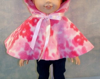 14 Inch Doll Clothes - Pink Camo Polar Fleece Cape handmade by Jane Ellen to fit 14 inch dolls