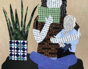 And Every Day She Read Him a Story - original paper collage