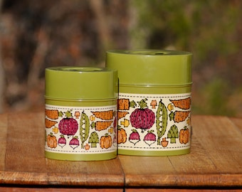 Kitchen Canister Set Green Vegetable Canisters Vintage Canister Set Kitchen Canisters Metal Canisters Vintage Kitchen Canisters Green