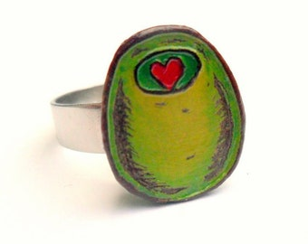 Olive You Ring. Olive Ring. Olive with Red Heart Pimento