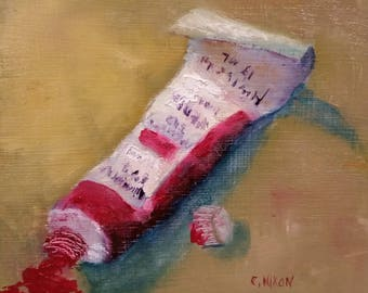 "Tube of Paint Original Oil Painting 5""x5"" Triple Gessoed 1/4"" Panel Small Painting"
