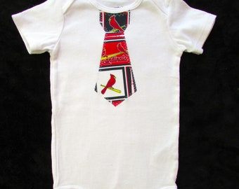 Baby Tie Snap Bodysuit with STL Cardinals fabric