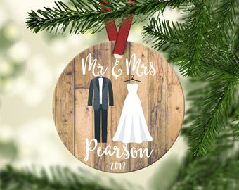 Our First Christmas Ornament.Mr & Mrs Ornament.First Christmas Married Ornament.Custom Ornament.Wedding Ornament.