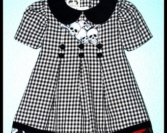 Girls Rockabilly Dress in Checks and Skulls and Roses ........Size 2