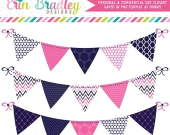 80% OFF SALE Blue and Hot Pink Commercial Use Clip Art Bunting Graphics Polka Dotted Chevron Striped