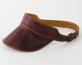 Leather Visor - Huntington Visor in Dark Brown Leather - < Free US Shipping >