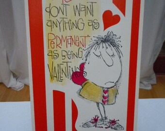 "Vintage 60's  Large  -VALENTINE Card "" How About a Quick Affair? "" -New Old Stock  Baker Card's-   15"" Long"