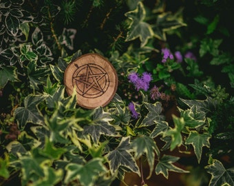 Hand Made Wooden Pagan Wicca Pentacle Pentagram Pyrography