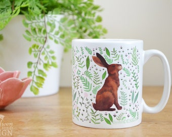 Hare Ceramic Mug, Hare Coffee Mug, Rabbit Mug, Tea Cup, Coffee Cup, Coffee Lover, Ceramic Cup, Botanical Mug, Hare Gift