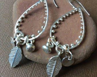 Silver teardrop earrings, chandelier earrings, boho, edgy silver earrings, long, leaf charm