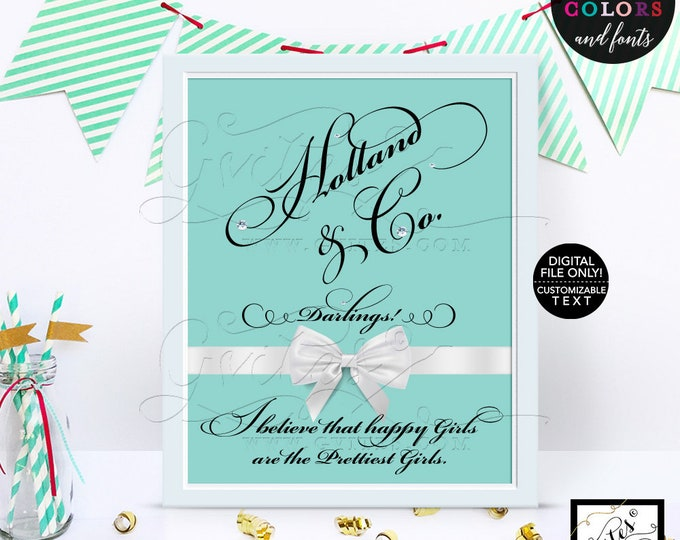 Custom party signs, turquoise blue party printables, Audrey Hepburn quote sign, print, table decor, bridal shower, birthday, wedding, 8x10