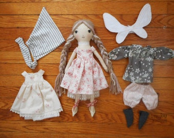 "PROTOTYPE SALE - 14"" Fairy Doll - Handmade Cloth Doll - Ready to Ship - Rag doll"